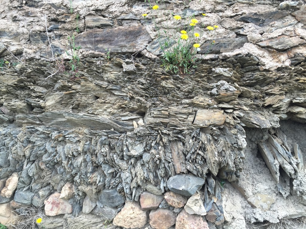 A retaining wall near Didier's vineyard highlights the schist (here, slate) soil components.